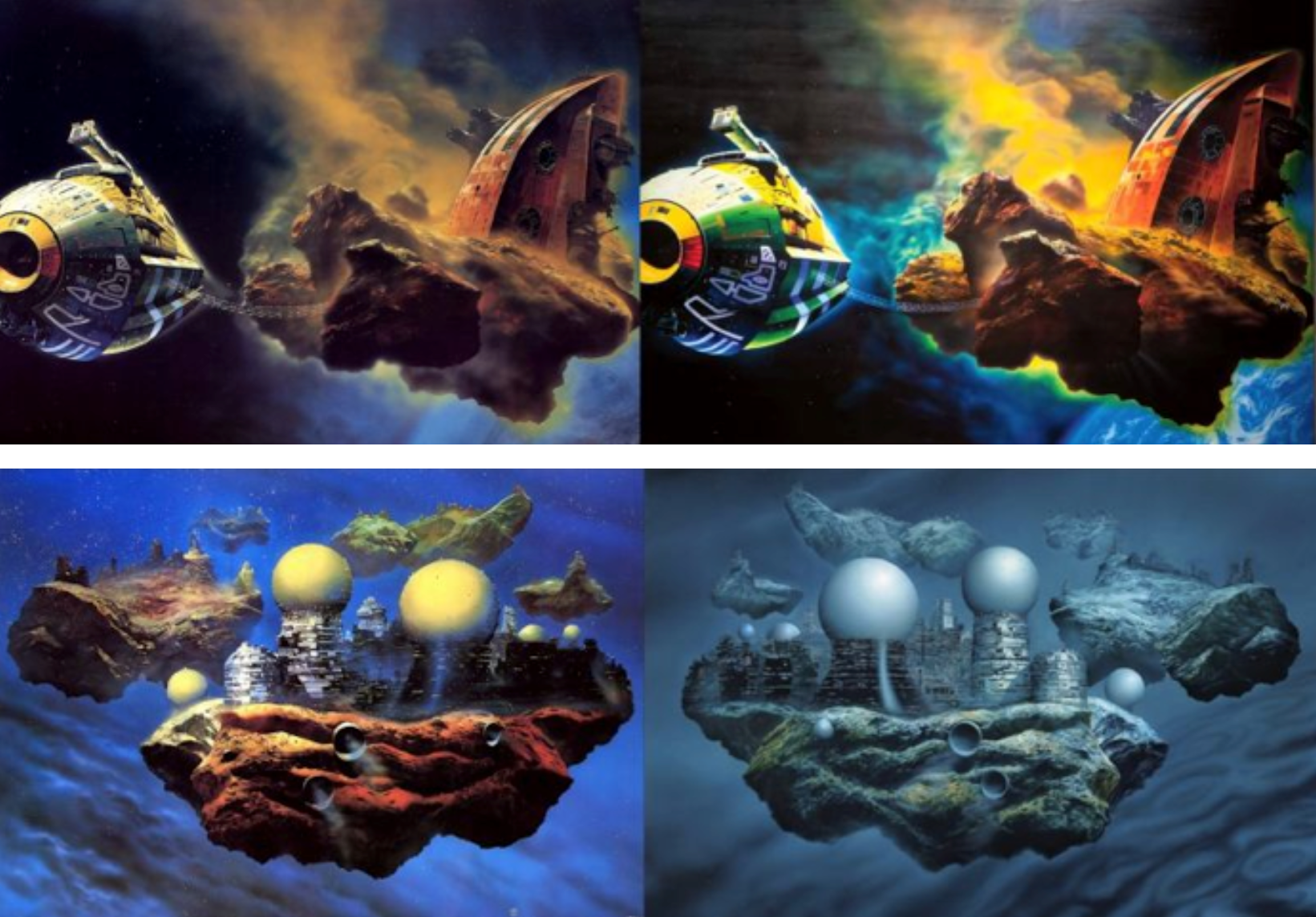 Chris Foss' Stars Like Dust and Glenn Brown's Ornamental Despair / Floating Cities and Glenn Brown's Bocklin's Tomb, available at How a Science Fiction Book Cover Became a $5.7 Million Painting, by Charlie Jane Anders,