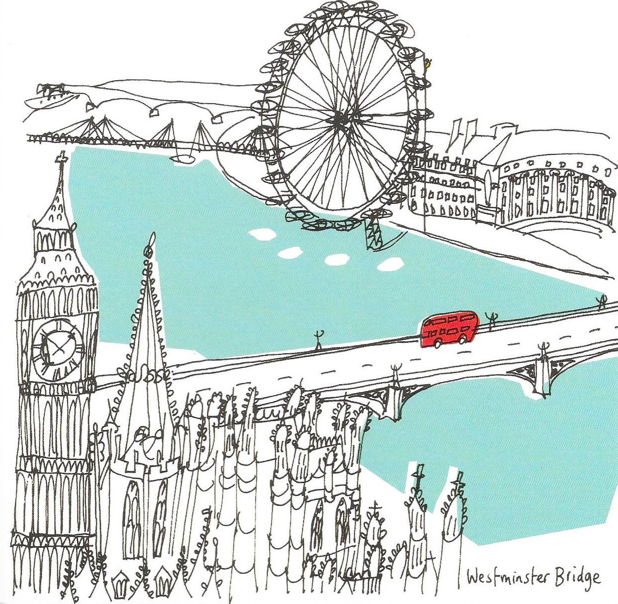 Red bus illustration by Susie Brooks