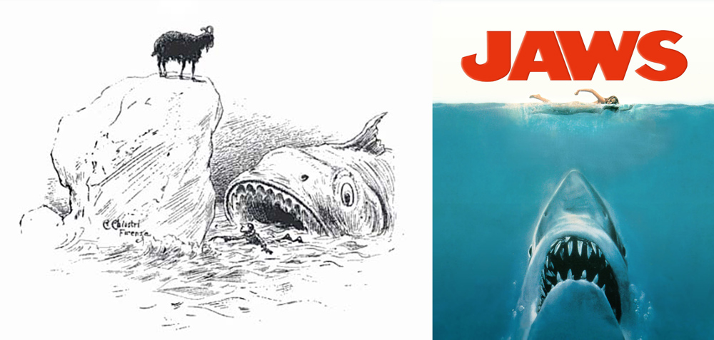 Jawls: Chiostri's illustration Vs Spielberg's movie poster