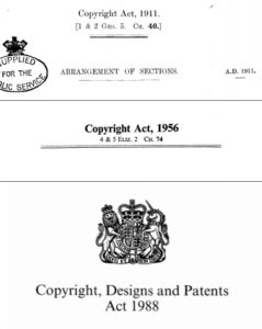 Original prints of UK Copyright Acts (1911, 1956, and 1988)