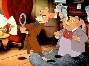 The Great Mouse Detective (1986), directed by Ron Clements, Burny Mattinson, Dave Michener, and John Musker; and produced by Walt Disney Pictures. This work is in copyright. Source: http://decentfilms.com/blog/great-mouse-detective