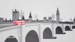 Red bus in London. Copyright Bites. The Adventure of the Girl with the Light Blue Hair, written, directed and produced by Ronan Deazley and Bartolomeo Meletti. Illustration by Davide Bonazzi. This work is in copyright, and available to use under the CC BY 3.0 licence. Source: https://www.copyrightuser.org/schools/the-game-is-on/