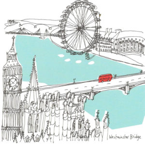 Copyright Bites. Westminster Bridge, illustration by Susie Brooks. This work is in copyright, and reproduced with the express permission of the author. Source: susiebrooks.net