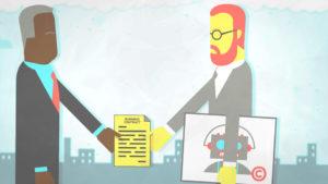 Copyright Bites. Business contract. Original illustration by Davide Bonazzi for CopyrightUser.org